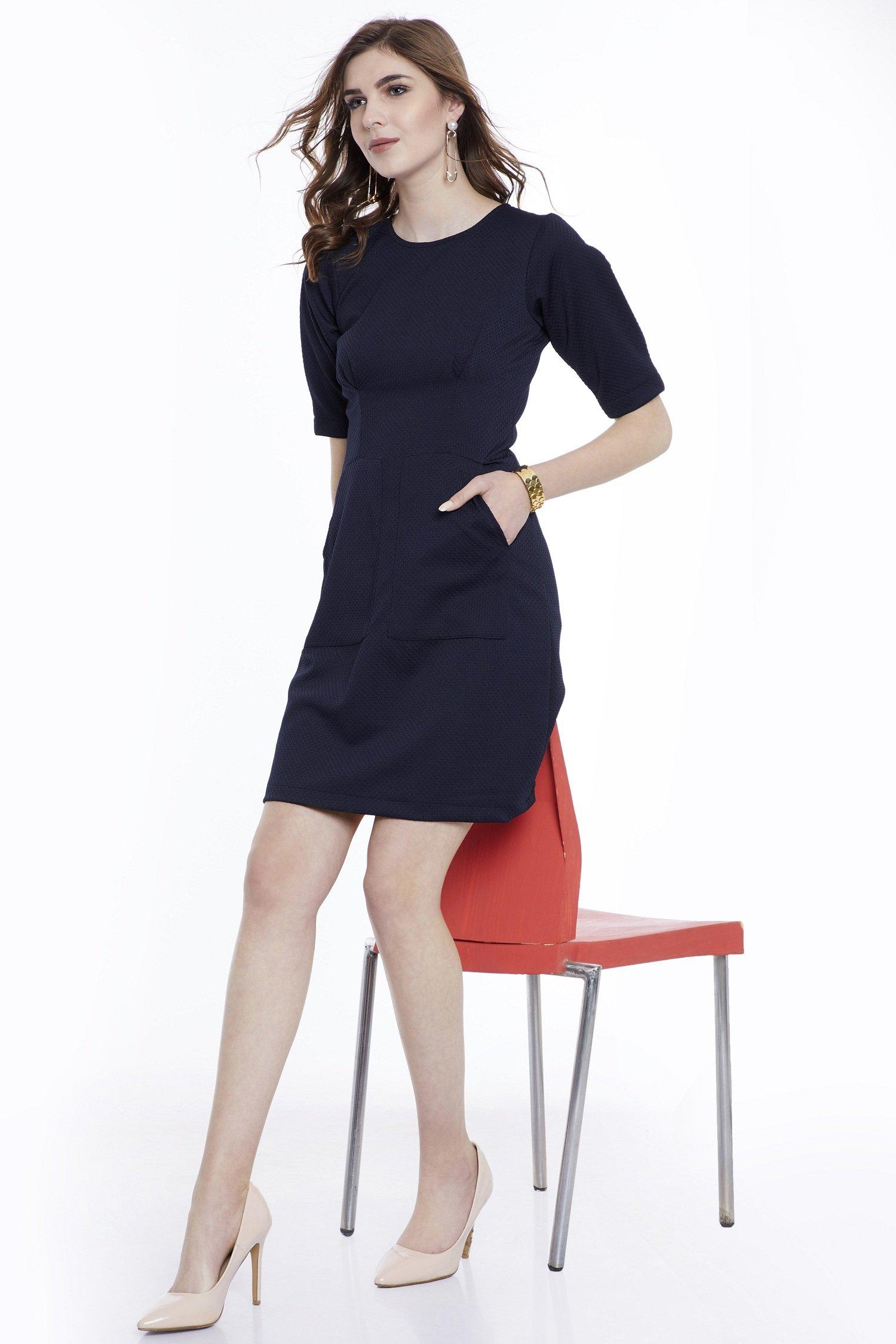Navy Blue Knee Length Dresses